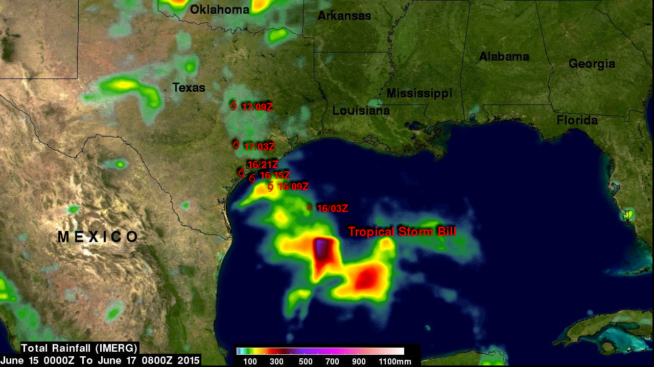 IMERG Sees Gulf Rainfall With Tropical Storm Bill