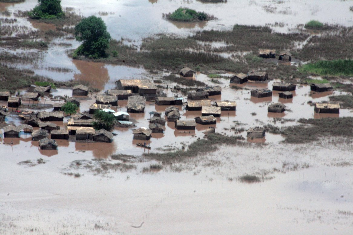 Flooding in Malawi in January 2015 submerged houses and farmland.