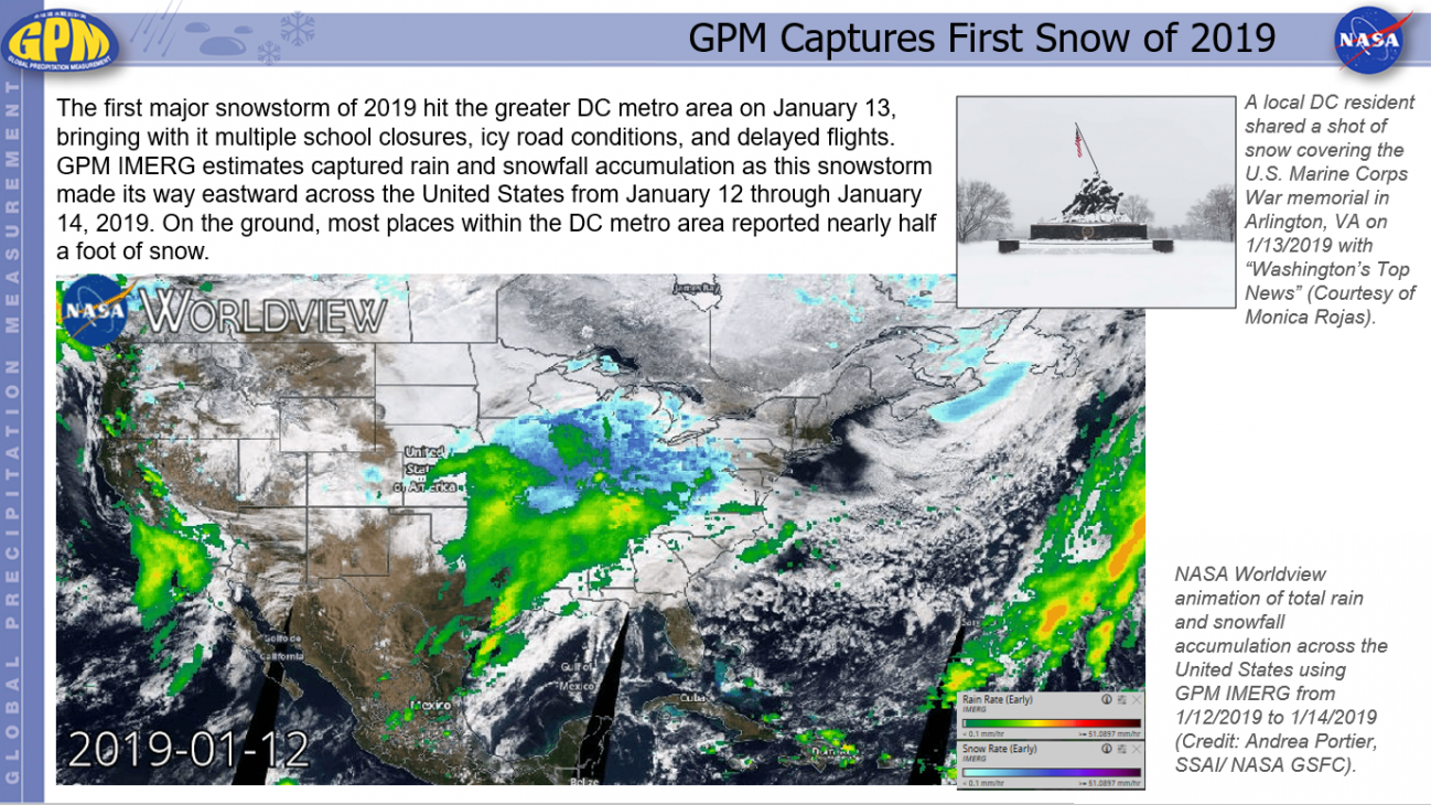 NASA Worldview animation of total rain and snowfall accumulation across the United States using GPM IMERG from 1/12/2019 to 1/14/2019 (Credit: Andrea Portier, SSAI/ NASA GSFC).