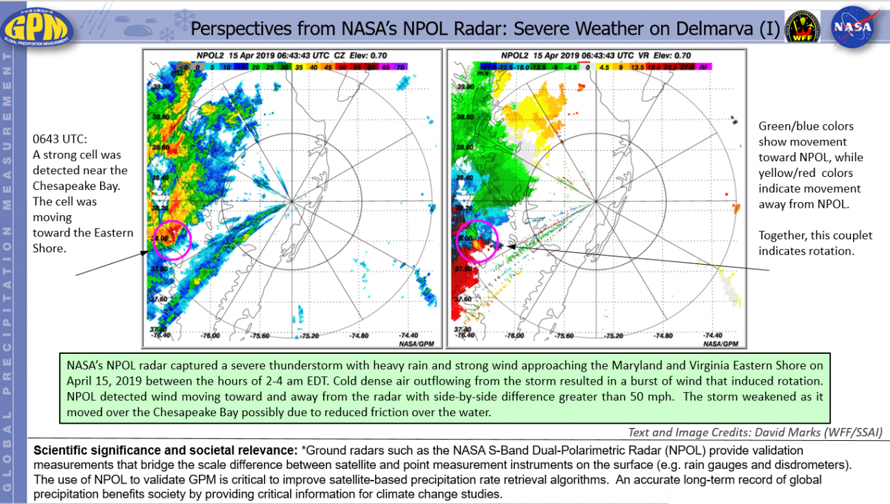 Perspectives from NASA's NPOL Radar: Severe Weather on Delmarva