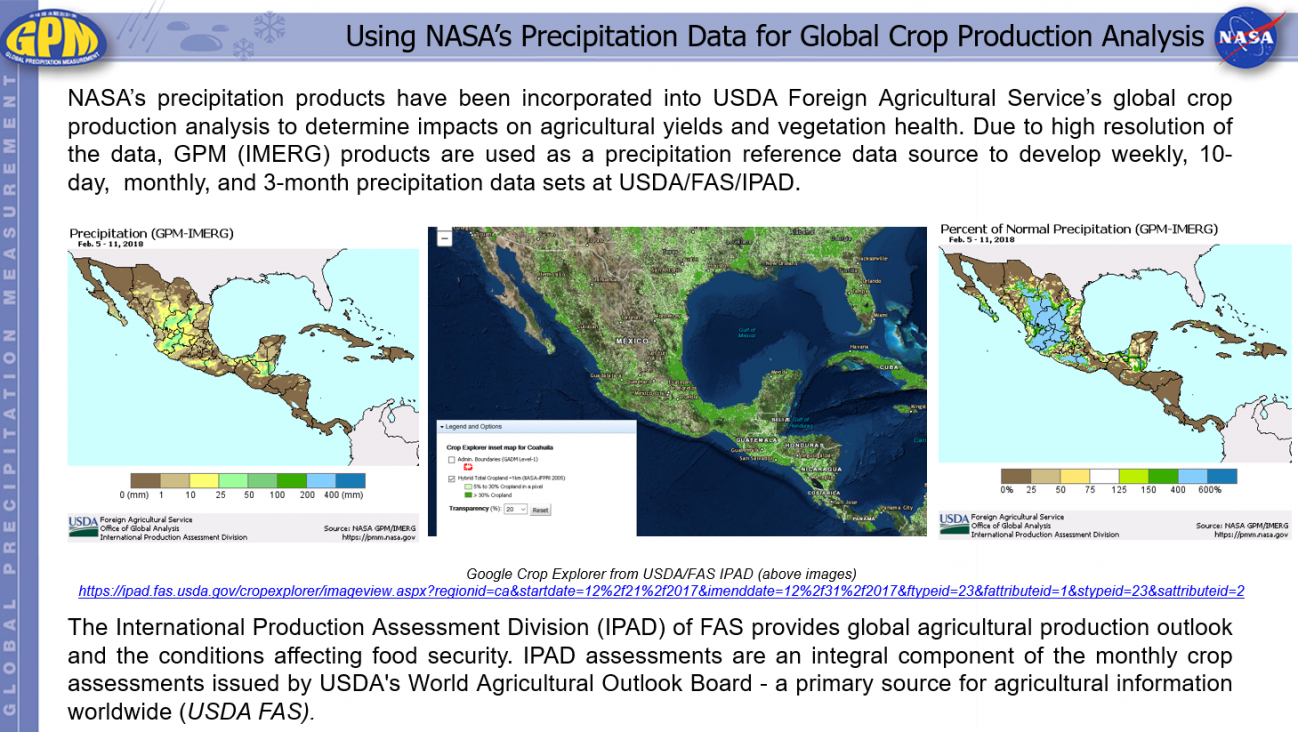 Using NASA's Precipitation Data for Global Crop Production Analysis