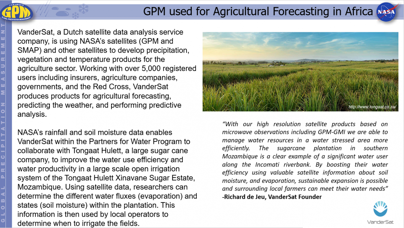GPM used for Agricultural Forecasting in Africa