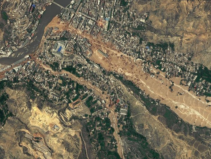 Aerial photo of 2010 landslide in Gansu, China