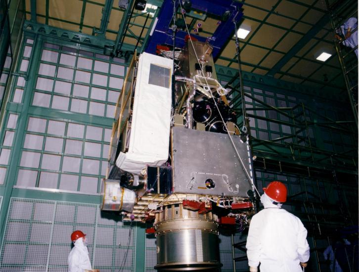 Engineers at Goddard Space Flight Center constructing the TRMM satellite assembl