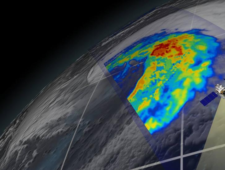 GPM flying over Earth with a data swath visualized.