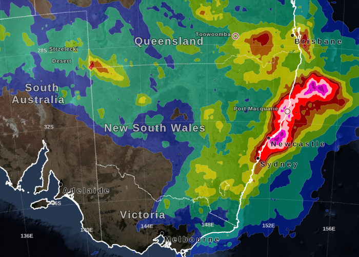 IMERG Precipitation Totals from Eastern Australia, March 16 - 23, 2021
