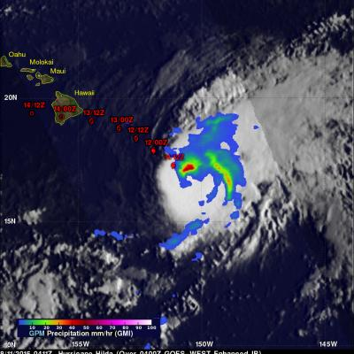 Three days ago Hilda was a category four hurricane on the Saffir-Simpson Hurricane Wind Scale with winds of 120 kts (138 mph). Hilda has been weakening and had winds of about 80 kts (92 mph) when the GPM core observatory satellite passed above on August 11, 2015 at 0411 UTC (August 10, 2015 at 6:11 PM HST). Rainfall data from GPM's Microwave Imager (GMI) instrument is shown overlaid on a 0400 UTC August 11, 2015 GOES-WEST Infrared image. GPM's GMI revealed that storms north of hurricane Hilda's eye were dro