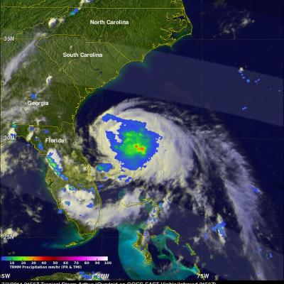 TRMM Sees Arthur Intensifying