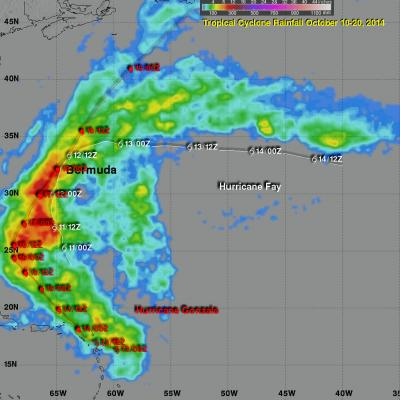Rainfall From Hurricane Fay and Gonzalo