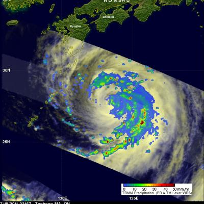 TRMM image of typhoon MA-ON approaching Japan