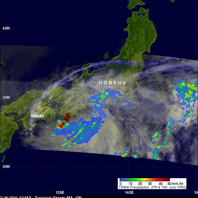 TRMM image of MA-ON weakening over Japan