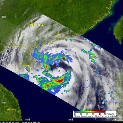 TRMM image of Nesat approaching Asia