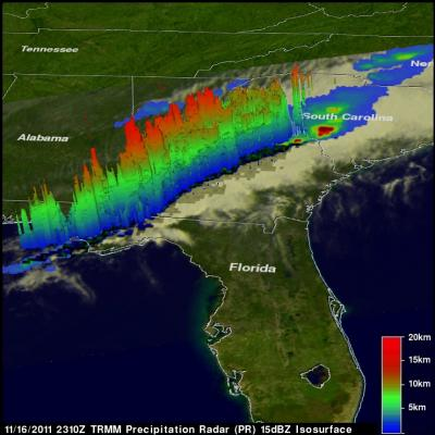 TRMM radar image of deadly tornados over the American southeast.